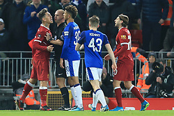 5th January 2018 - FA Cup - 3rd Round - Liverpool v Everton - Referee Bobby Madley intervenes to break up an argument between Roberto Firmino of Liverpool and Mason Holgate of Everton - Photo: Simon Stacpoole / Offside.