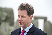© Licensed to London News Pictures. 01/12/2014. Wiltshire, UK British Prime Minister Nick Clegg visits The World Heritage Site of Stonehenge in Wiltshire today 1st December 2014. A tunnel passing Stonehenge is among dozens of new road schemes announced by the government, as part of £15bn of improvements to England's roads.. Photo credit : Stephen Simpson/LNP