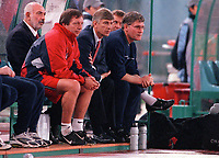 Arsenal manager Arsene Wenger and assistant Pat Rice (right) on the bench during the match. S.S.Lazio 1:1 Arsenal, UEFA Champions League, Group B, Olympic Stadium, Rome, 17/10/2000. Credit Colorsport / Stuart MacFarlane.