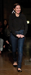 Designer Emilia Wickstead greets the audience after presenting her Autumn/Winter 2017 London Fashion Week show at The College, London. PRESS ASSOCIATION. Picture date: Saturday February 18, 2017. Photo credit should read: Isabel Infantes/PA Wire
