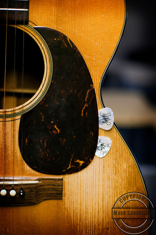 John Mellencamp's Martin guitar with picks,   Walter Reed  Army Medical Center on Thursday April, 26,2007 in Silver Springs, MD. Photo by Mark Cornelison