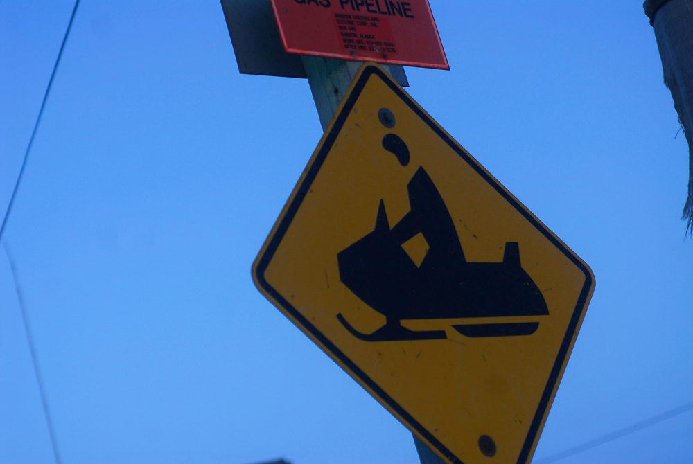 Barrow, Alaska. Snow machine crossing sign. April 2007.