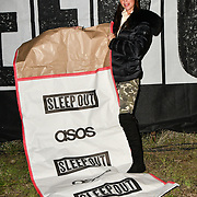 Amber Dowding join Sleep Out fundraiser to help homeless young people at Greenwich Peninsula Quay on 15 November 2018, London, UK.