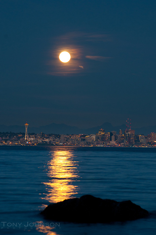 moonrise over Seattle as seen from Bainbridge Island, WA September 2012