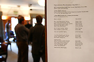 Media schedule for meetings with players and writers is posted on a door in the hotel after the England elite player squad trainnig session at Pennyhill Park, Bagshot, UK, on 11th March 2011  (Photo by Andrew Tobin/SLIK images)