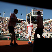 PARIS, FRANCE June 01. Pablo Cuevas of Uruguay awaits a ball from the boll boys during his match against Dominic Thiem of Austria during the Men's Singles third round match on Court Suzanne Lenglen at the 2019 French Open Tennis Tournament at Roland Garros on June 1st 2019 in Paris, France. (Photo by Tim Clayton/Corbis via Getty Images)