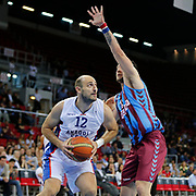 Anadolu Efes's Nenad Krstic (L) during their Turkish Basketball League Play Off Semi Final round 1 match Anadolu Efes between Trabzonspor at Abdi Ipekci Arena in Istanbul Turkey on Friday 29 May 2015. Photo by Aykut AKICI/TURKPIX