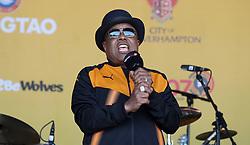 Tito Jackson performs on stage during the winner's parade through Wolverhampton.