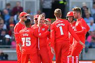 Wicket - Matt Parkinson of Lancashire celebrates taking the wicket of James Faulkner of Worcestershire during the Vitality T20 Finals Day Semi Final 2018 match between Worcestershire Rapids and Lancashire Lightning at Edgbaston, Birmingham, United Kingdom on 15 September 2018.