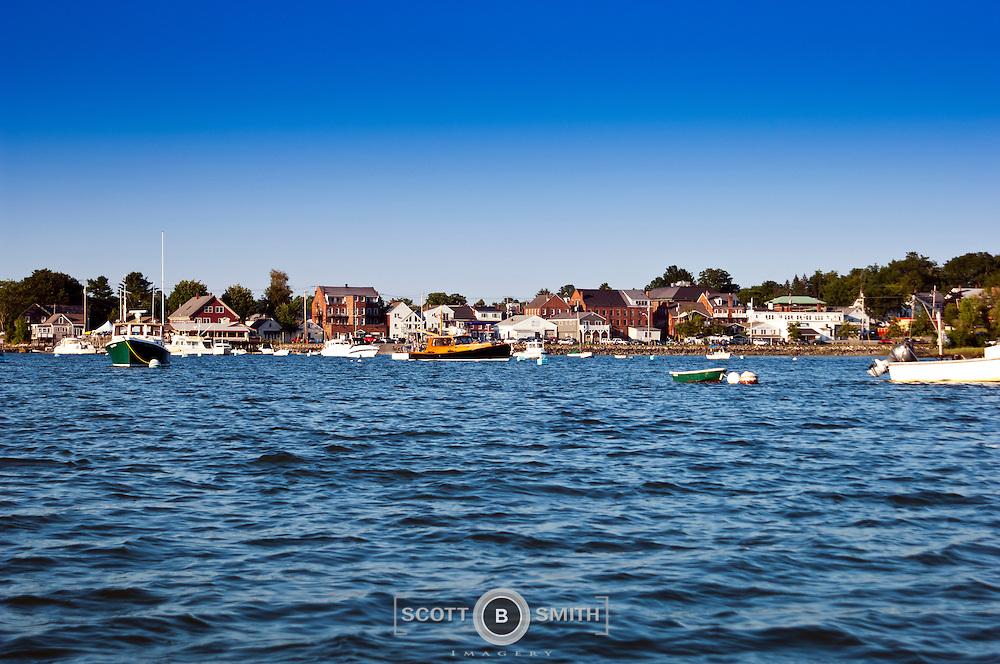 Summer afternoon boating view of Damariscotta, Maine