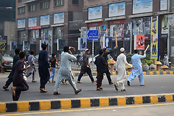 November 1, 2018 - Lahore, Punjab, Pakistan - Pakistani Supporters of Tehreek-e-Labaik Ya Rasool Allah (TLY) a hard line religious political party chant slogans during a protest against the supreme court decision to overturn the conviction of Christian woman Asia Bibi in Lahore. Pakistan's Supreme Court on October 31 overturned the conviction of Asia Bibi, a Christian mother facing execution for blasphemy, in a landmark case which has incited deadly violence and reached as far as the Vatican. (Credit Image: © Rana Sajid Hussain/Pacific Press via ZUMA Wire)