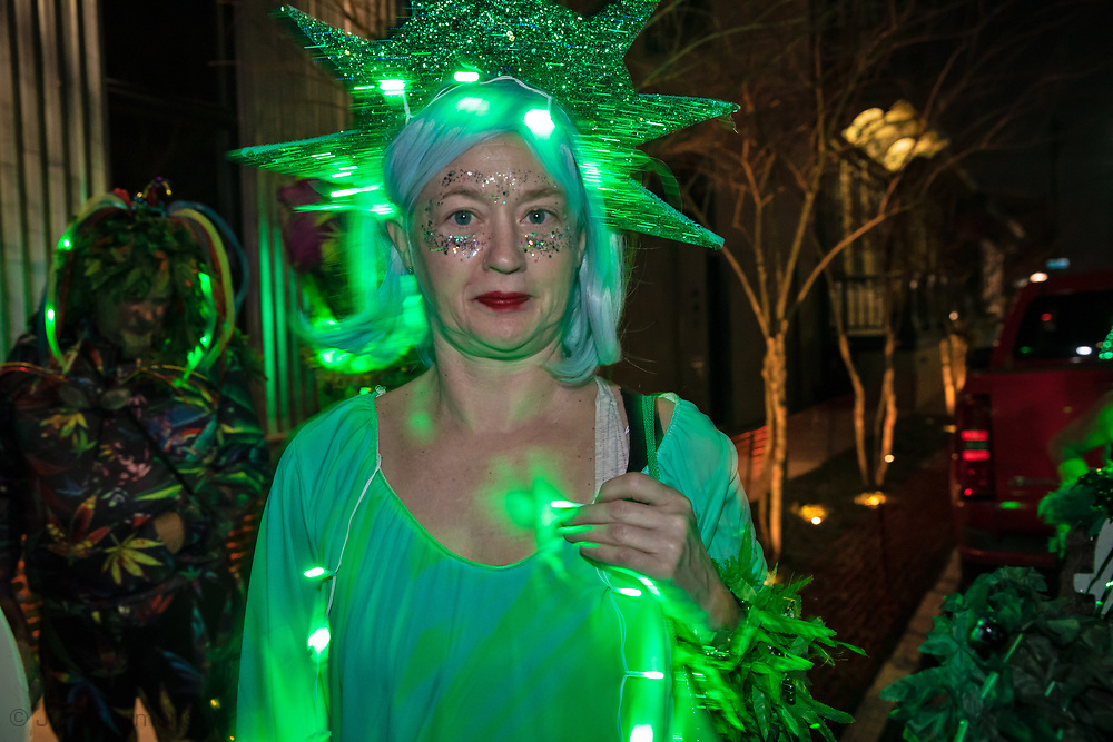 Febuary 8, 2020 New Orleans, People participating in the Krewe du Vieux parade.8, 2020 New Orleans, People participating in the Krewe du Vieux parade.