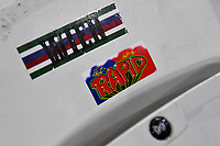 Football - 2021 / 2022 UEFA Europa League - Group H - Round Two - West Ham United vs Rapid Vienna - London Stadium - Thursday 30th September<br /> <br /> Rapid Vienna stickers left on the seats in the away end.<br /> <br /> COLORSPORT/Ashley Western