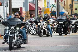 Riding  Main Street during the 2015 Biketoberfest Rally. Daytona Beach, FL, USA. October 16, 2015.  Photography ©2015 Michael Lichter.