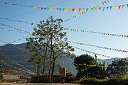Colourful flags fill the sky along Bhotewodar Road on the 6th of March 2020 in Paudi, Sundarbazar, Lamjung District, Gandaki Pradesh, Nepal.  The town is decorated as part of the Holi celebrations, also known as Festival of Colours, is one of the most popular festivals in Nepal. It takes place on the full moon day in Nepali Fagu month (February to March in Solar Calendar) and lasts for 2 days. (photo by Andrew Aitchison / In pictures via Getty Images)