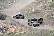 Israel, Upper Galilee Military vehicles patrol the Lebanese border