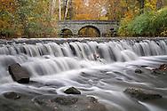 Stone Bridge And Waterfall, Autumn In The Park, Sharon Woods, Southwestern Ohio