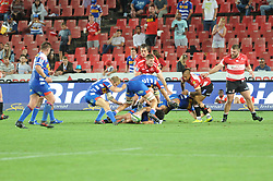 070418 Emirates Airlines Park, Ellis Park, Johannesburg, South Africa. Super Rugby. Lions vs Stormers. Elton Jantjies tackles a Stormers player in a loose scrum.<br />Picture: Karen Sandison/African News Agency (ANA)