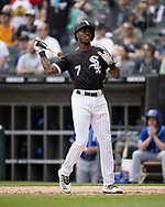 CHICAGO - APRIL 17:  Tim Anderson #7 of the Chicago White Sox throws his bat as he reacts after hitting a two-run home run in the fourth inning against the Kansas City Royals on April 7, 2019 at Guaranteed Rate Field in Chicago, Illinois.  (Photo by Ron Vesely) Subject: Tim Anderson
