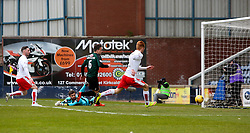 Falkirk's Craig Sibbald (not in frame) scoring their first goal. <br /> Raith Rovers 2 v 2 Falkirk, Scottish Championship game played 23/4/2016 at Stark's Park.