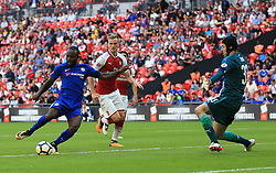 """Chelsea's Victor Moses scores his side's first goal of the game during the Community Shield at Wembley, London. PRESS ASSOCIATION Photo. Picture date: Sunday August 6, 2017. See PA story SOCCER Community Shield. Photo credit should read: Nigel French/PA Wire. RESTRICTIONS: EDITORIAL USE ONLY No use with unauthorised audio, video, data, fixture lists, club/league logos or """"live"""" services. Online in-match use limited to 75 images, no video emulation. No use in betting, games or single club/league/player publications."""