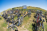 Bicycles parked near restaurant on carless island of Juist, Germany
