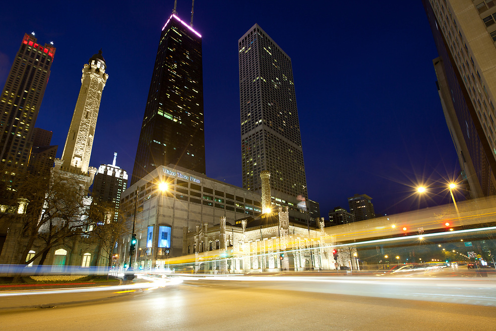 Chicago, Illinois, United States - May 08, 2011: Skyline of Michigan Avenue and Water Tower at night.