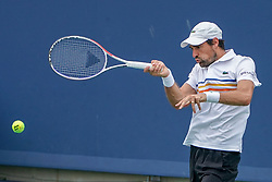 August 15, 2018 - Mason, Ohio, USA - Jeremy Chardy (FRA) hits a forehand shot during Wednesday's second round of the Western and Southern Open at the Lindner Family Tennis Center, Mason, Oh. (Credit Image: © Scott Stuart via ZUMA Wire)