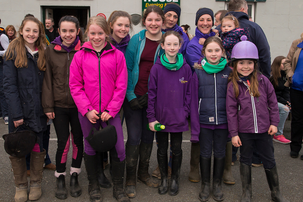 19th March 2016, Gordon Elliott trained Don Cossack homecoming to Summerhill<br /> Members of Summerview Equestrian Center pictured in Summerhill waiting for the homecoming of Gordon Elliott trained - Don Cossack, L-R, Mallisa Buffini, Mia McGuinness, Sarah Pike, Zoe Darling, Rachel Quinn, Lauren Robinson, Molly Allen, Siobhan Cunningham, Sarah Cunningham, Lilly Allen, Holly Peppard<br /> Photo: David Mullen /www.cyberimages.net / 2016