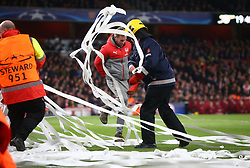 March 7, 2017 - London, England, England - Bus Tickets on pitch during UEFA Champions League - Round 16 - 2nd Leg match between Arsenal and Bayern Munich at The Emirates , London 07 Mar 2017  (Credit Image: © Kieran Galvin/NurPhoto via ZUMA Press)
