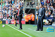 Sunderland's manager Paolo Di Canio (l) shows his frustration on the touchline. Barclays Premier league match, West Bromwich Albion v Sunderland at the Hawthorns in West Bromwich, England on Sat 21st Sept 2013. pic by Andrew Orchard, Andrew Orchard sports photography,