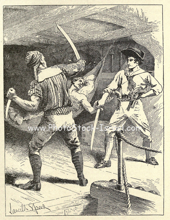 Captain Snelgrave and the Pirates From the book ' The true story book ' Edited by ANDREW LANG illustrated by L. BOGLE, LUCIEN DAVIS, H. J. FORD, C. H. M. KERR, and LANCELOT SPEED. Published by Longmans, Green, and Co. London and New York in 1893