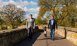 Haddington, East Lothian, Scotland, United Kingdom, 5th May 2021. Scottish election campaign: Scottish Conservative & Unionist party leader, Douglas Ross, visits in support of their candidate Craig Hoy, Conservative councillor on the last day of electioneering before polling places open tomorrow.<br /> Pictured: Douglas Ross and Craig Hoy at Old Nungate bridge<br /> Sally Anderson | EdinburghElitemedia.co.uk