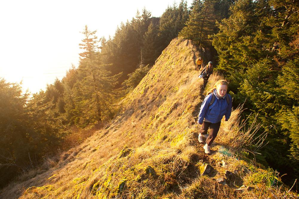 Hiking on Neahkahnie Mountain near Manzanita, Oregon.