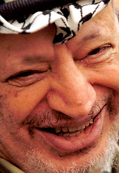 RAMALLAH, WEST BANK-APRIL 23, 2001-.PLO Chairman Yasser Arafat during a press conference at PLO headquarters in the West Bank town of Ramallah. (PHOTO © JOCK FISTICK)