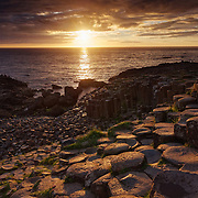 Sunset over Giant's Causeway, Northern Ireland.