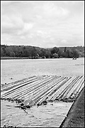 Henley-On-Thames, Berkshire, UK., Wednesday, Wednesday, 26th May 2021, Regatta Course Construction, River Thames, Henley Reach, [Mandatory Credit © Peter Spurrier/Intersport Images], , Black & White, B&W,