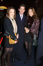 "Left to right, ARABELLA MUSGRAVE, the HON.JAMES TOLLEMACHE and AMANDA SHEPPARD  at a party to celebrate the opening of the new Mont Blanc store at 151 Sloane Street, London on 9th March 2005.  The evening was held in conjunction with UNICEF's ""Sign up for the right to write"" campaign which is raising money though the sale of celebraties 'statements' currently for auction on the ebay website.<br />
