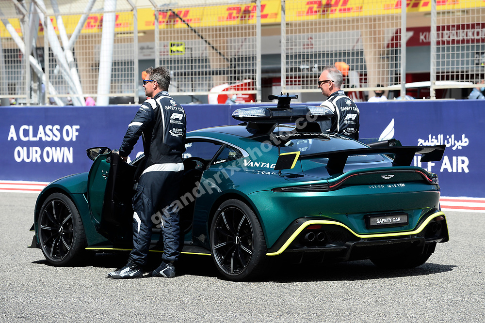 Bernd Mayländer and new Aston Martin safety car before the 2021 Bahrain Grand Prix. Photo: Grand Prix Photo