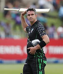Kevin Pietersen of Hollywoodbets Dolphins out for 79 during the T20 Challenge cricket match between the Dolphins and the Cobras at the Kingsmead stadium in Durban, KwaZulu Natal, South Africa on the 4th December 2016<br /> <br /> Photo by:   Steve Haag / Real Time Images