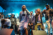 WASHINGTON, DC - August 17th, 2013 -  A$AP Rocky (center) makes a surprise appearance during A$AP Ferg's set  at the 2013 Trillectro Festival at the Half Street Fairgrounds in Washington, D.C.  (Photo by Kyle Gustafson / For The Washington Post)