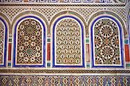 Berber Arabesque decorative moracbe plasterwork of Bou Ahmed's Harem. Bahia Palace, Marrakesh, Morroco