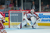 REGINA, SK - MAY 22: Evan Fitzpatrick #31 of Acadie-Bathurst Titan defends the net against the Hamilton Bulldogs at the Brandt Centre on May 22, 2018 in Regina, Canada. (Photo by Marissa Baecker/CHL Images)