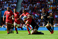 Alex Goode of Saracens is tackled - Mandatory by-line: Ryan Hiscott/JMP - 01/06/2019 - RUGBY - Twickenham Stadium - London, England - Exeter Chiefs v Saracens - Gallagher Premiership Rugby Final