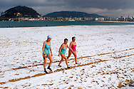 Ondarreta beach is covered by snow on January 25th, 2005, in Donostia - San Sebastian, Basque Country. Donostia was elected European Capital of Culture 2016, a title that shares with the eastern Polish city of Wroclaw, on June 28th, 2011. (Ander Gillenea / Bostok Photo)