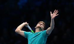 November 17, 2017 - London, United Kingdom - David Goffin of Belgium ageinst Dominic Thiem of Austia.during Day six of the Nitto ATP World Tour  Finals played at The O2 Arena, London on November 17 2017  (Credit Image: © Kieran Galvin/NurPhoto via ZUMA Press)