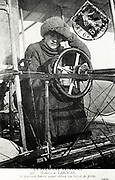 Baroness Raymonde Delaroche, first woman to hold a pilot's licence. On 3 Nov. 1909 flew Voisin biplane 1,000 yards. From postcard after photograph. Mail frank 1910.