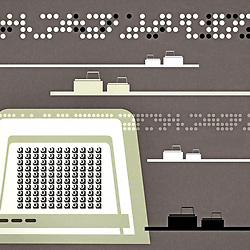 Early Style Mid Century Retro Computing Communications Network illustration with grain and edge fade