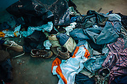 Clothes and shoes of Centro American migrants who were kidnapped during some days in Lara Grajales, Mexico, October 13, 2008.