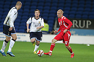 Ross McCormack of Scotland (17) and David Cotterill of Wales (r). Wales v Scotland, friendly international football match at the Cardiff City stadium, Cardiff, Wales, UK on Sat 14th Nov 2009.  pic by Andrew Orchard, Andrew Orchard sports photography